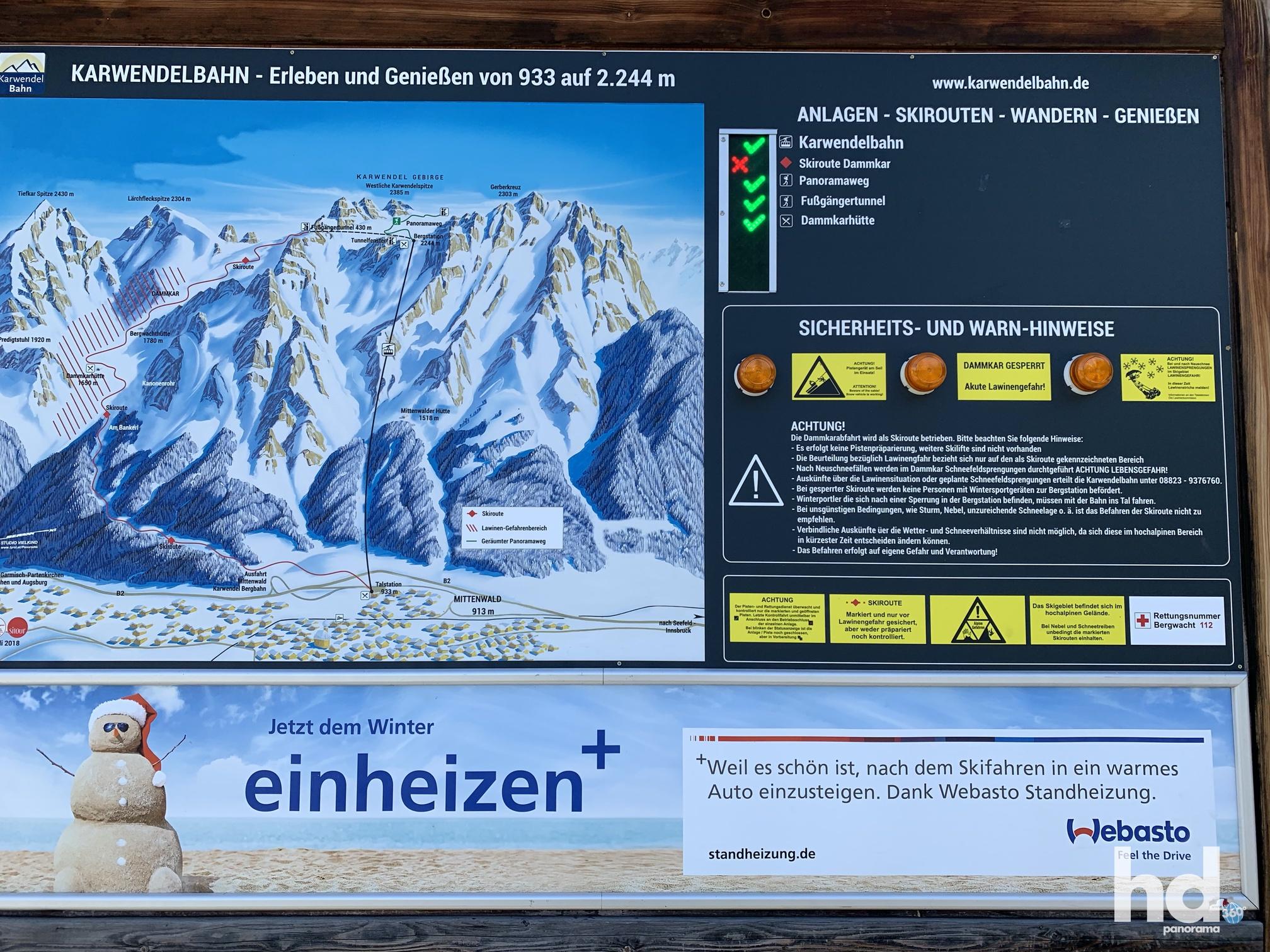 Zweithöchste Seilbahn Deutschlands, Mittenwald rauf auf den Karwendelspitz, Infotafel an der Talstation, Foto © HD-Panorama